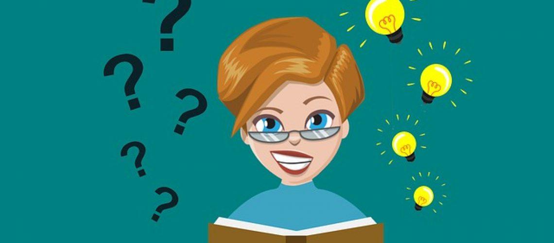 Femme se posant des questions qui lit un livre et y trouve des réponses